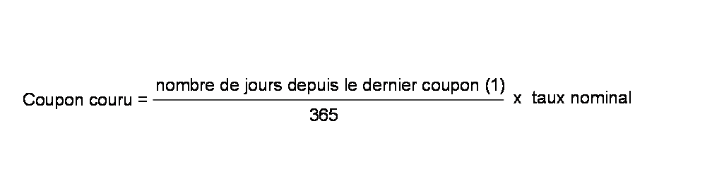 Formule de calcul du coupon couru
